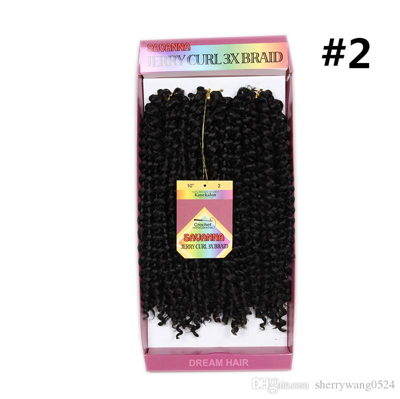 """10""""inch 3strands/pack Jerry Curly 3x Braids Syntehtic Hair Bundles Ombre T1B/Burgundy Colors Freetress Curly Hair Crochet Braids For Women"""