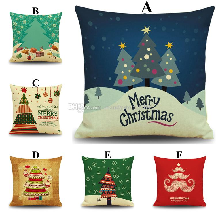 2016 Christmas Trees Cushion Cover Colorful Christmas Theme Pillow Case Party Decor Dazzle Colour Cushion Cover Sofa Couch Chair Cushion