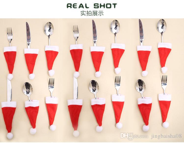 мило Рождество декоративный посуда нож вилка Набор Рождество Hat Storage Tool рождественские украшения Supplies прекрасный 12 * 6см
