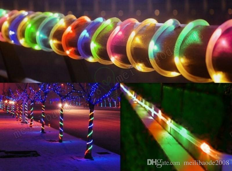 Luces de la secuencia del tubo de tira llevadas accionadas solares 33ft 100 LED multicolor cable de cobre impermeable en el tubo claro para el jardín de Navidad MYY
