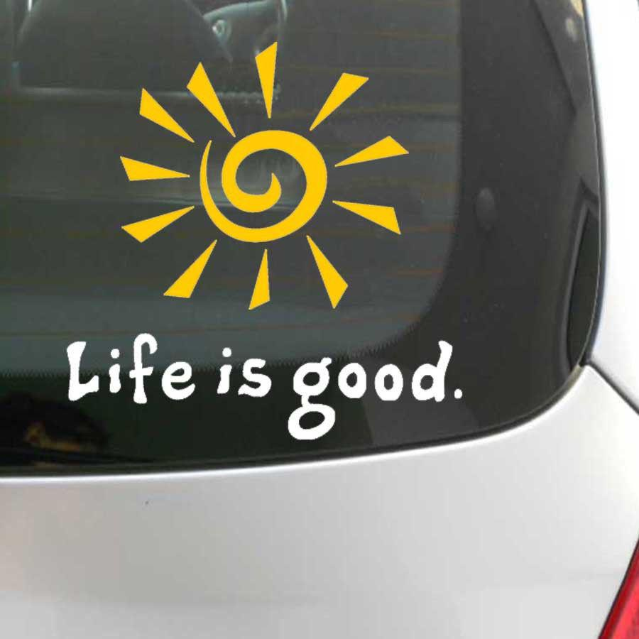 2019 fun life is good rising sun decal window car laptop sticker vinyl funny car phone window decal sticker reflective yellow color from mysticker
