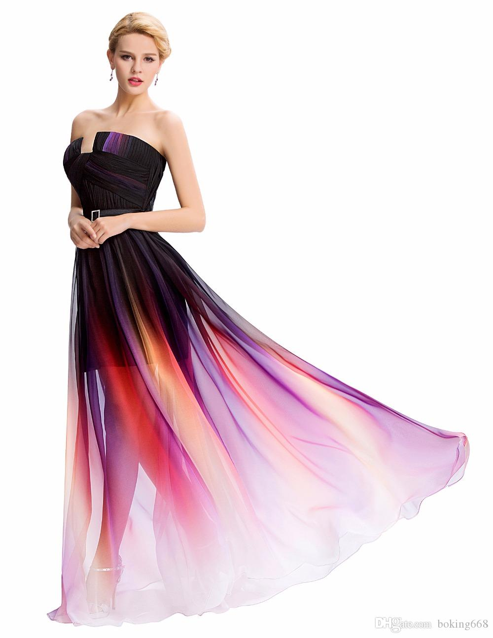 Ombre Colorful Long Prom Dresses Empire 2019 Luxurious Chiffon Formal Dress  Gown Floor Length Celebrity Ladies Prom Dress Evening Dresses Maternity Prom  ... 9995fadbd440