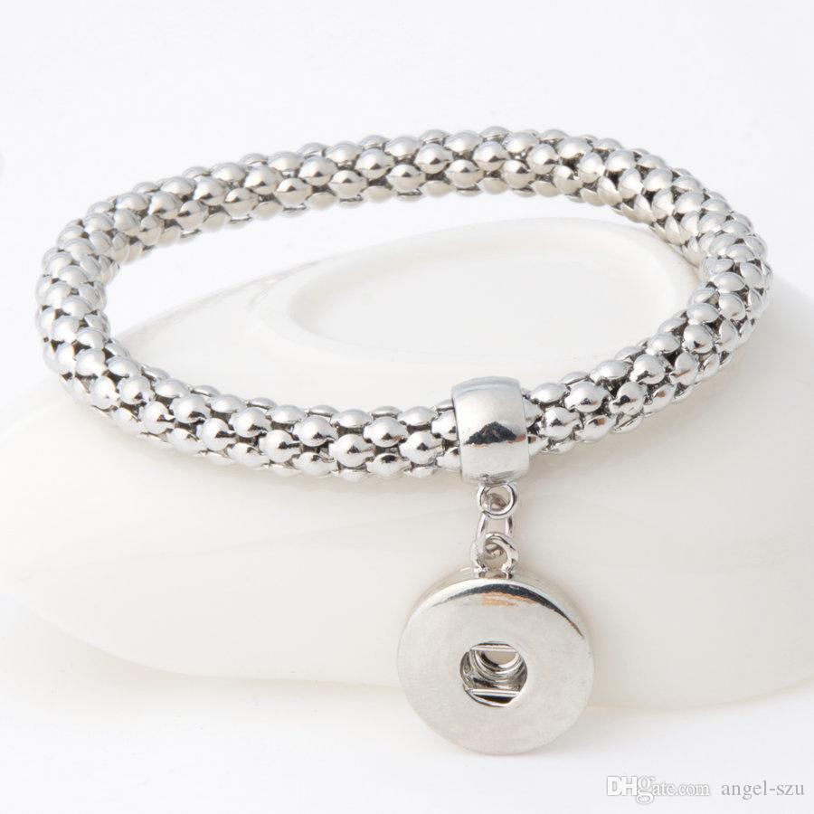 NOOSA Silver Plated 2 Colors Interchangeable 18mm Snap Jewelry Set Button Bracelet For Girl Gift E506E