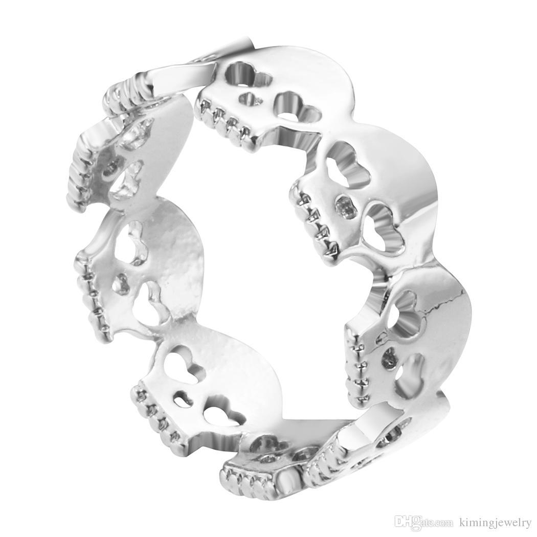 Gold Plated Heart Skulls Rings Rock N Roll Skull Skeleton Rings for Women 2016 Bague Homme
