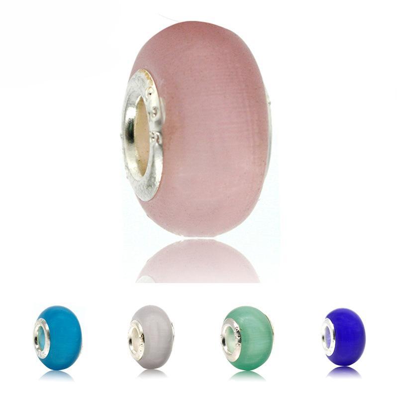 Opal Silber Glas Bead natürliche Cat Eye Stein europäischen Murano Spacer Bead Fit für Pandora Silber Charm Armbänder
