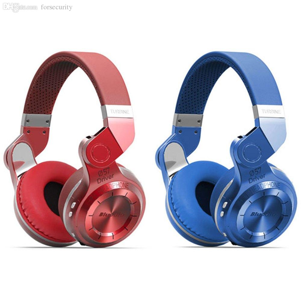 Wholesale-Blue dio T2 Headphones Fashionable Turbo Wireless Bluetooth 4.1 Stereo Headphone Foldable Style Headband Headset with Mic