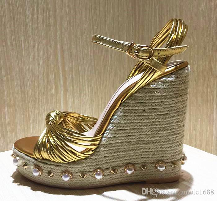 dd1ed30c5 Bohemia Pearl Platform Gladiator Sandals Women Metallic Leather Knot  Espadrille High Heels Pumps Ladies Summer Wedges Mary Jane Shoes Wedge  Sandals Jesus ...