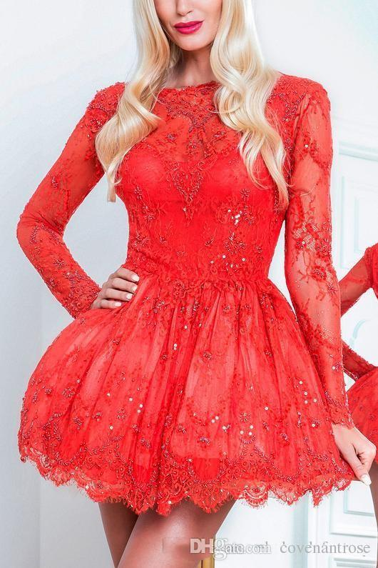 Sexy Red Vestido de Festa Backless Short Cocktail Dresses Long Sleeves Full Lace Vintage Club Wear Party Dresses Sparkly Prom Dresses 2018
