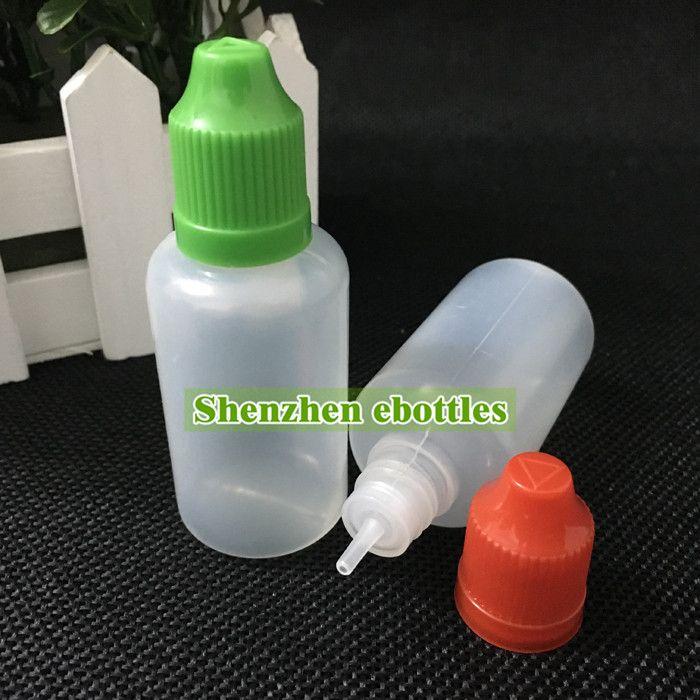 긴 얇은 팁 도매 무료 배송 빈 병 다채로운 아이 증거 모자 빈 병 30ML E 액체 플라스틱 스포이드 병