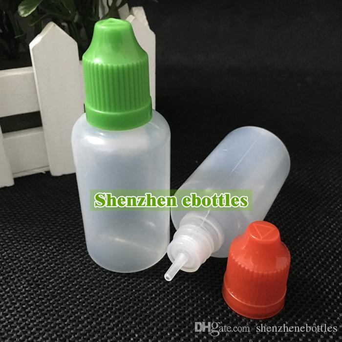 Venta caliente del envío libre Botella suave Estilo PE aguja 30ML Botellas plásticas del cuentagotas a prueba de niños Caps LDPE Liquid E botella vacía
