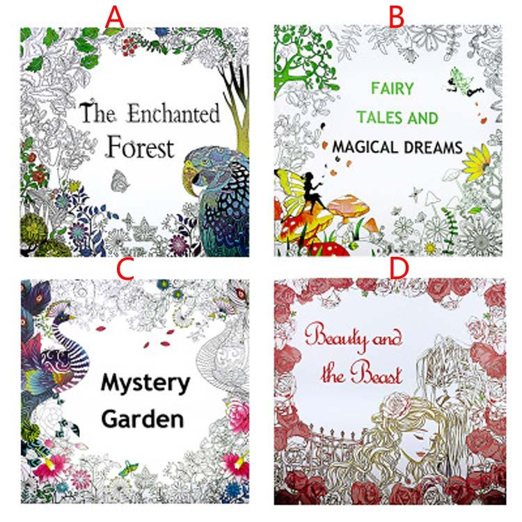 4 design secret garden beauty and the beast coloring book children relieve stress kill time graffiti painting magic forest drawing book kids coloring books - Beauty And The Beast Coloring Book