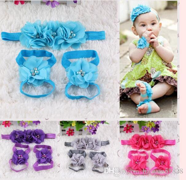 2016 New baby barefoot flower with pearl feet hair flower shoes sandals baby flowers foothold hair accessories headbands hairbands set