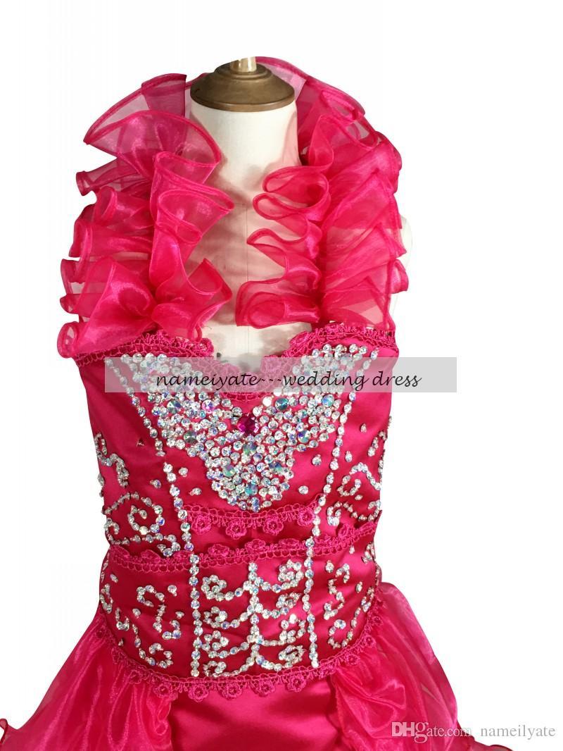 Nuevo estilo sandía sirena / trompeta halter cremallera Hi-Lo sin mangas hechos a mano Rhinestone flor niñas 'vestidos envío gratis