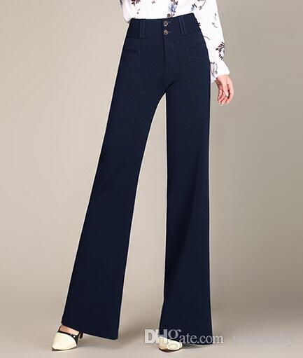 Wid Beinhosen für Frau plus Größe hohe Taille neue Mode OL Herbst Frühling Winter blau schwarz braun in voller Länge Hose weiblich spy0602