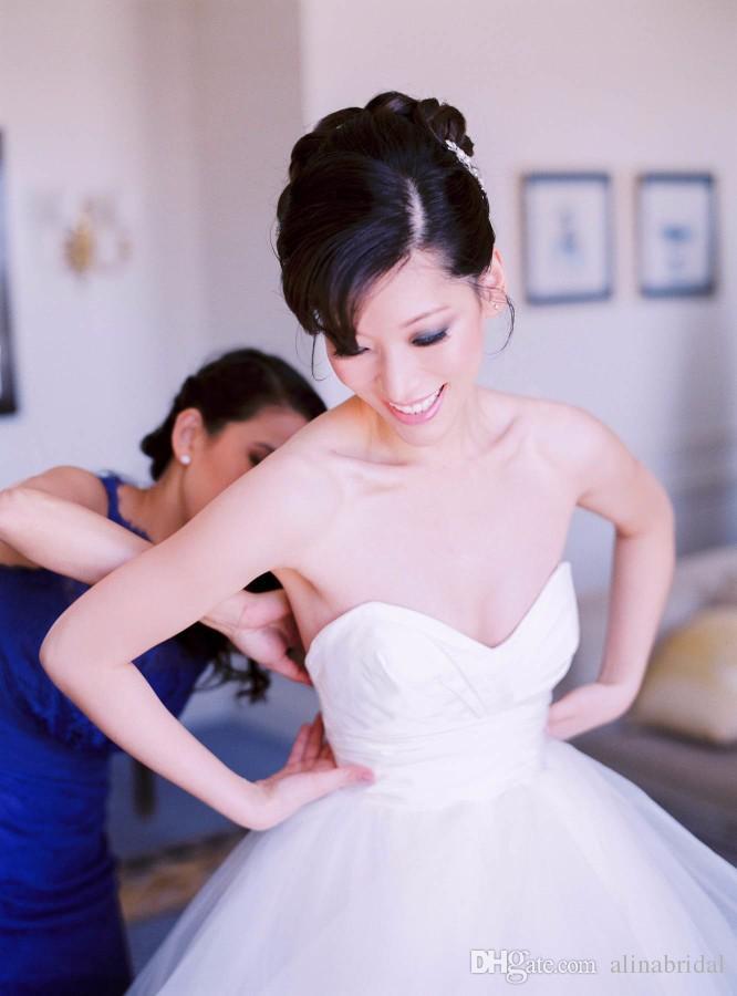 Zwei Stücke elegante Brautkleider mit Applique Lace Sheer Top Cascading Rüschen A Line Vestidos de Novia Romantische Brautkleider 2016