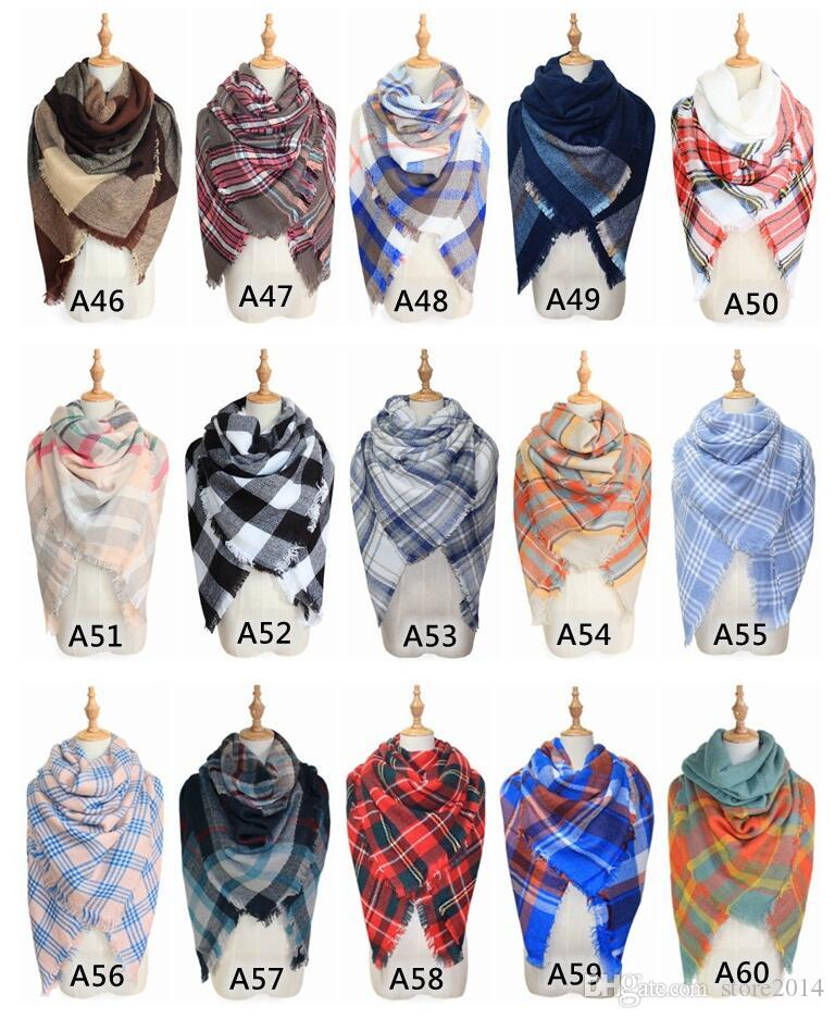 New Scarves Plaid Blanket Scarf Women Tartan Tassels Scarf Grid Shawl Wrap Lattice Neckchief Cashmere Muffler Fashion Winter Check Pashmina