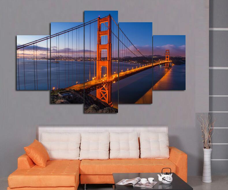 Golden Gate Bridge 5 PanelsLarge HD Picture Canvas Modern Artwork Wall Decorative print painting On Canvasposter canvas F