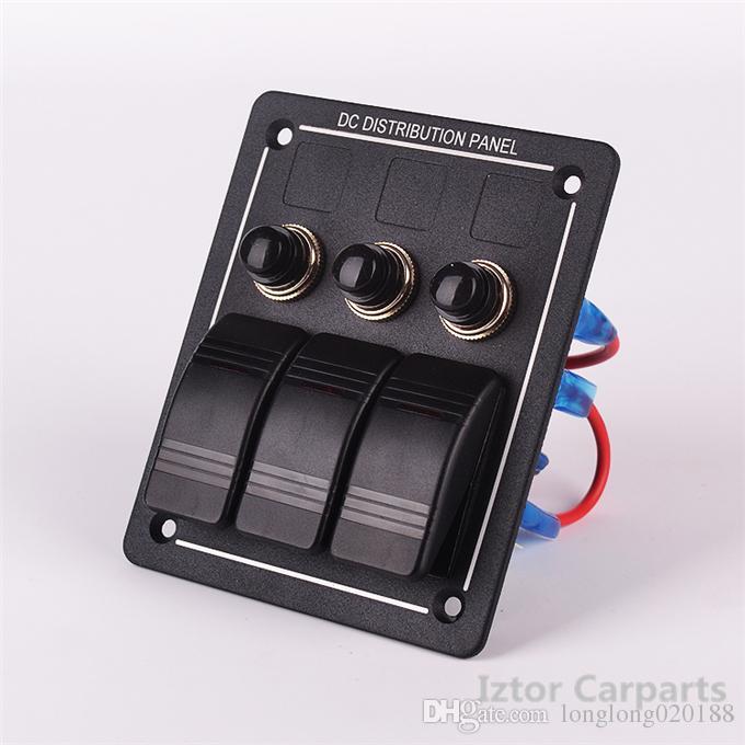 50 unids 3 Pandillas LED Interruptor de Rocker de Aluminio A Prueba de agua Barco Marina Rv ON-OFF Interruptor Panel