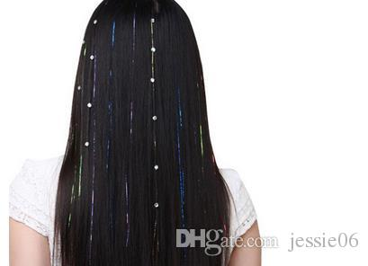 Renkli Metalik Glitter Tinsel Lazer Fiber saç Peruk Saç Uzatma Aksesuarları Postiş Klip Cosplay Peruk parti olay Şenlikli sahne