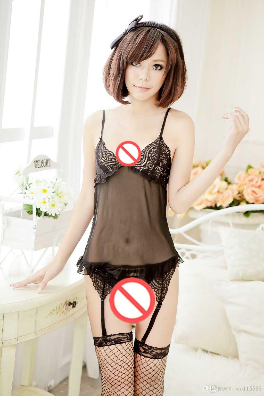 Envío gratis Nueva ropa interior sexy cosplay sexy underwear negro atractivo arnés femenino perspectiva abierta entrepierna cuerpo ropa de loto pijamas pijamas