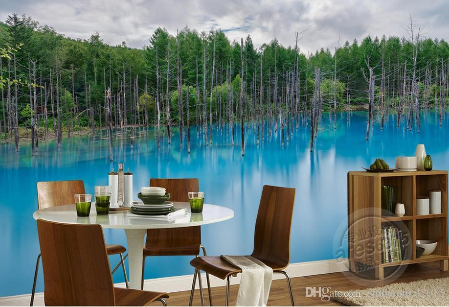 paredes de papel pintado mural de paisaje de lago de bosque