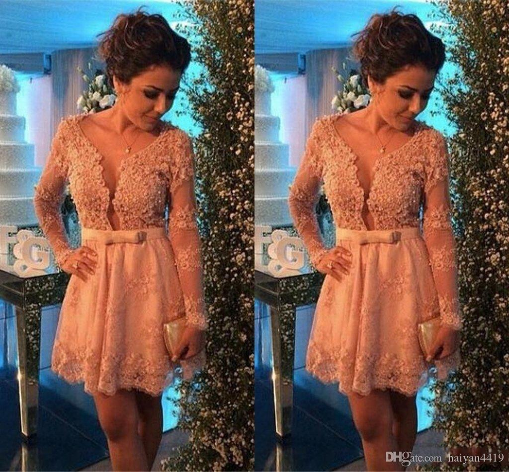 2017 New Sexy Cocktail Dresses Scoop Neck Illusion Long Sleeves Lace Crystal Beaded Short Mini Tulle Graduation Party Dress Homecoming Gowns