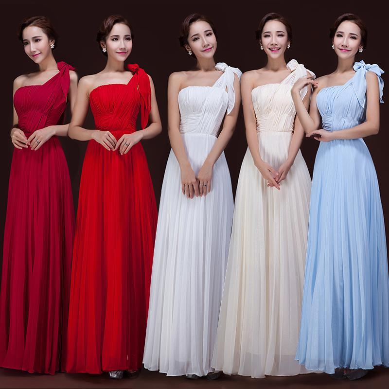 Une Epaule Longue Robes De Demoiselle D'honneur En Mousseline De Soie Avec Des Plis Ciel Bleu Rouge Longueur De Plancher Des Femmes Robe En Dentelle