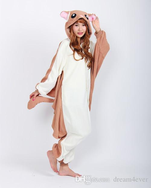 Cosplay Animal Flying Squirrel Pyjamas pour Adultes Flying Rat Party Pyjama Onesie Hiver Barboteuses Squirrel jumpshit