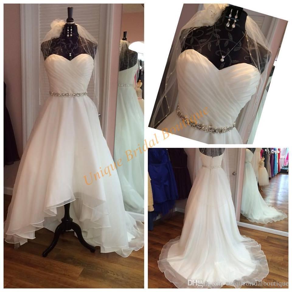 Hi Lo Wedding Gowns: Discount Hi Lo Wedding Dresses 2016 With Sweetheart Neck