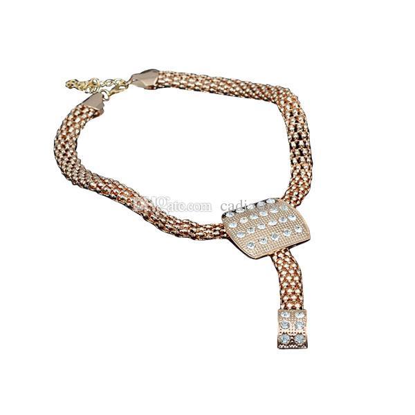 Stylish Fashion Jewelry Set Alloy Necklace Ear Studs Bracelet Finger Ring Set Syeer C00587