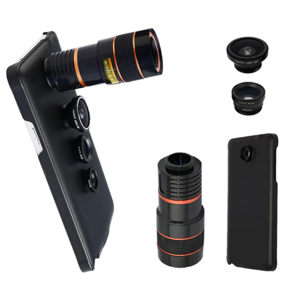 4 in 1 Camera for Samsung Galaxy Note 5 Zoom 8X Telescope + fish eye + Wide Angle &Macro with Cover CL-19B85 lens