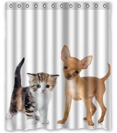 2018 Dogs Cats Two Kittens Puppy Chihuahua Animal Customized Design Bath  Animal Waterproof Shower Curtain 160x180cm Bathroom Curtains From Newhope2,  ...