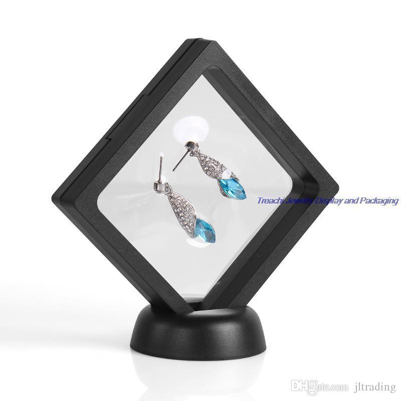 4 قطعة / الوحدة pet شفافة تعليق هدية نافذة مربع الأحجار الكريمة الماس والمجوهرات عرض موقف حامل صناديق تغليف المجوهرات شحن مجاني
