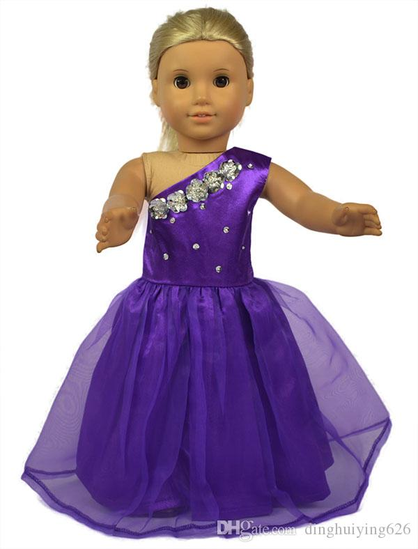 18 inch Fashion Purple Lace Doll Dress American Girl Clothes with Shining Accessories Evening Party Dress