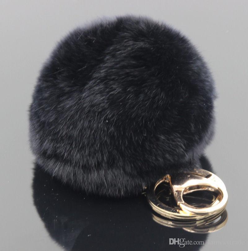 Lanway Gold-Kaninchen-Pelz-Ball Keychain flauschigen keychain Pelz pom pom llaveros portachiavi porte Clef Schlüsselanhänger Schlüsselanhänger für die Tasche