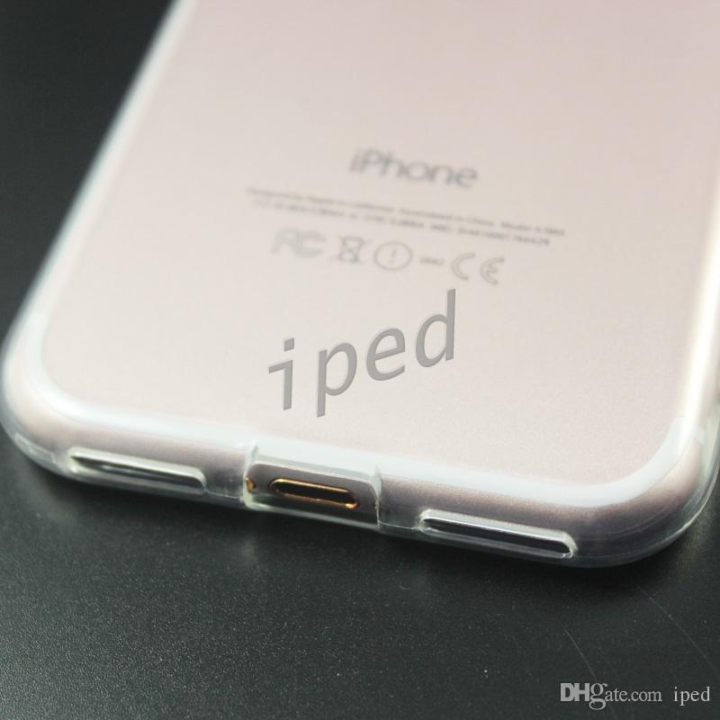 Cheapest 1,5 millimetri Spessore della cassa di cristallo libero TPU di goccia di resistenza del gel iPhone 7 i7 Plus con puntini senza impronta digitale + polybag vendita al dettaglio