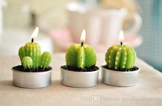 Green cactus Candle Wedding Baby Shower Birthday Souvenirs Gifts Favor Packaged with PVC Box