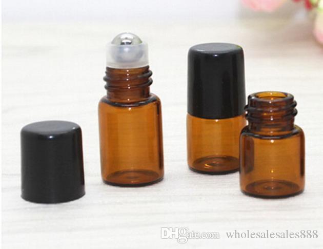 300 ADET / GRUP 1 ml 2 ml Mini esansiyel yağlar için rulo şişelerde sarı rulo, Roll-on doldurulabilir parfüm şişesi konteyner