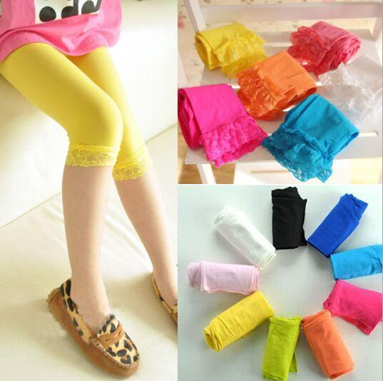 Hot Multi color PrettyBaby kids baby girls velvet candy color leggings summer girls lace leggings children Cropped Pants
