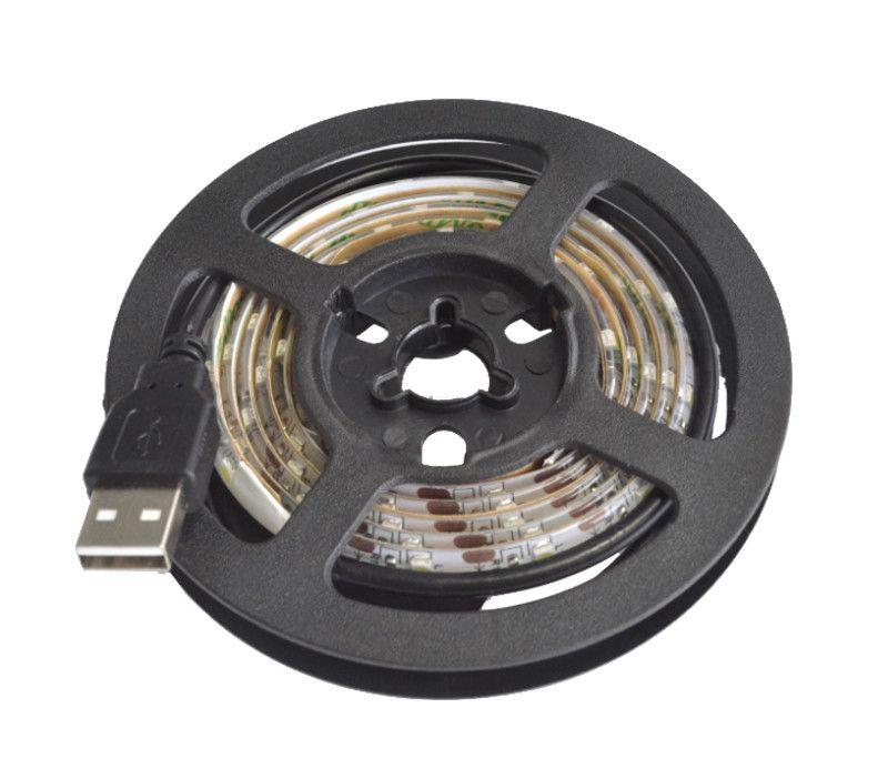 DC 5 V USB LED Esnek Şerit Işık Lambası 100 cm 1 m SMD 2835 60 leds / m Şerit Bant LCD TV Arka Plan Aydınlatma Dekorasyon Halat için Beyaz CE ROSH