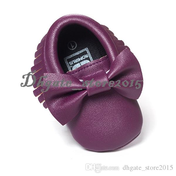 New Baby First Walker Shoes Baby PU Leather Shoes soft sole moccasin leather Colorful Bow Tassel booties toddlers shoes