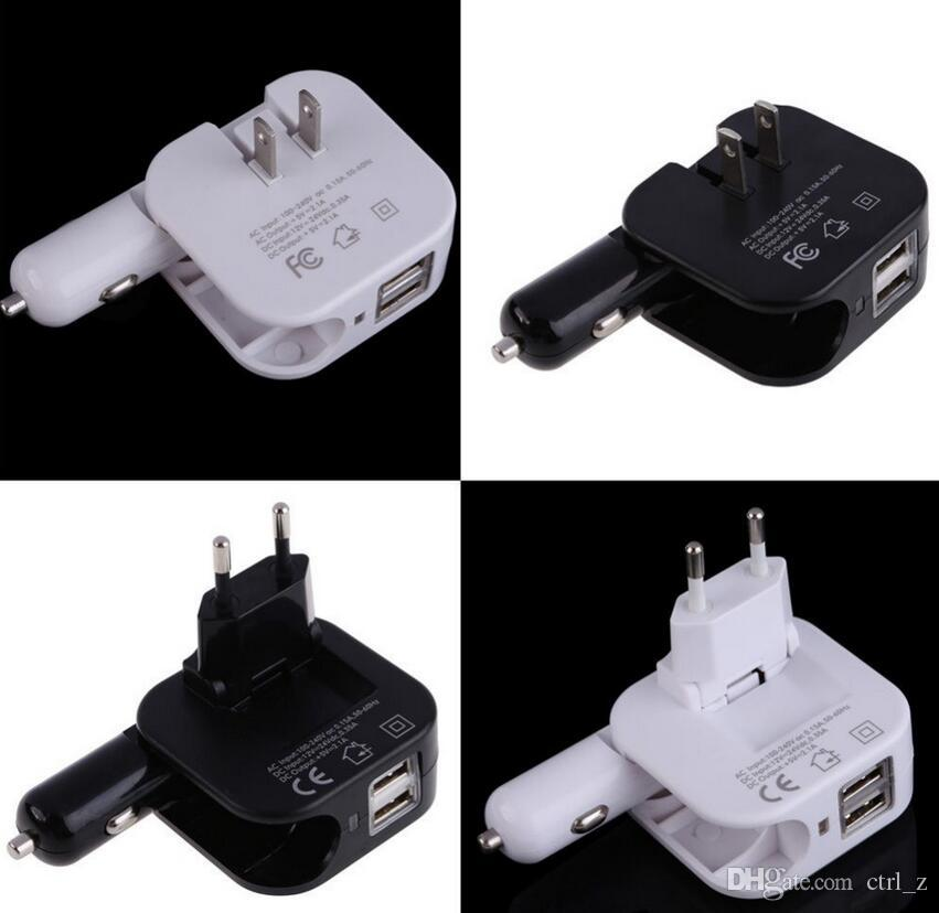 universal 5V 2.1A 2 in 1 Dual USB port Folding car home travel wall charger with US plug for iphone samsung HTC