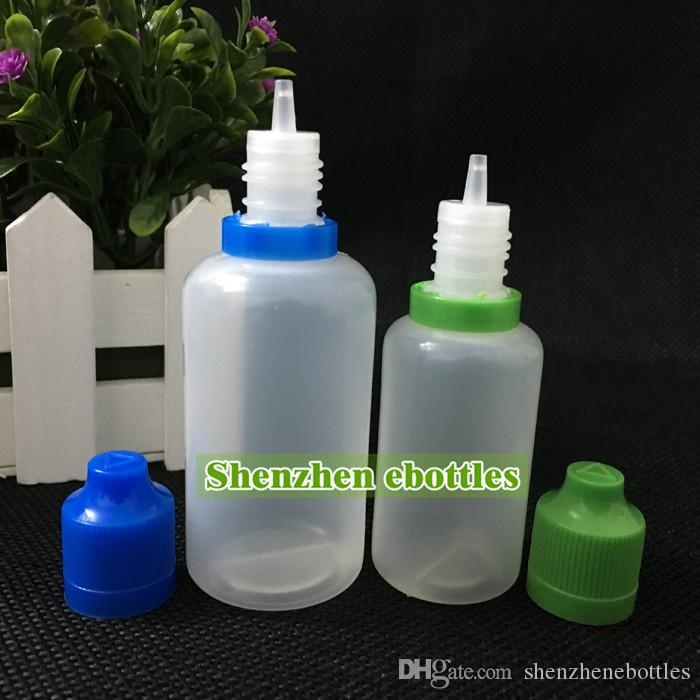 Свободная перевозка груза горячего оптовая продажа Пластиковые бутылки E-сигареты безопасности детей саботажа крышкой и длинный тонкий кончик капельницы 50ML PE Пластиковые бутылки капельницы