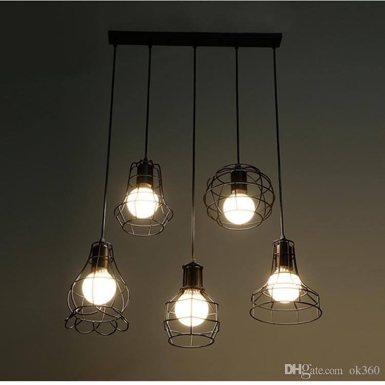 Эдисон старинные лампы кованого железа подвесной светильник небольшие железные клетки люстра ресторан кухня светильник для бара Кафе ресторан