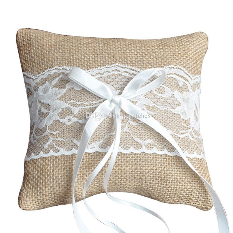 20 x 20cm Burlap Hessian Rustic Wedding Ring Pillow Cushion Ring Bearer Lace Flower for Wedding Ceremony