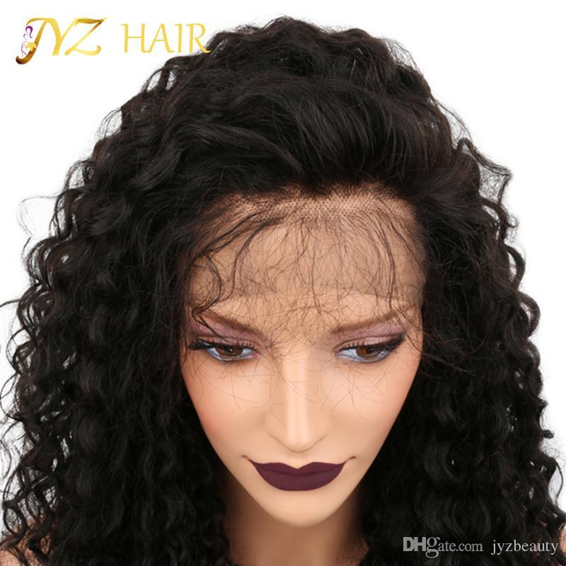 JYZ Verworrene Lockige Volle Spitzeperücke Mongolische Volle Spitze Echthaar Afro Lockige Perücken Für Schwarze Frauen Glueless Lace Front Perücken