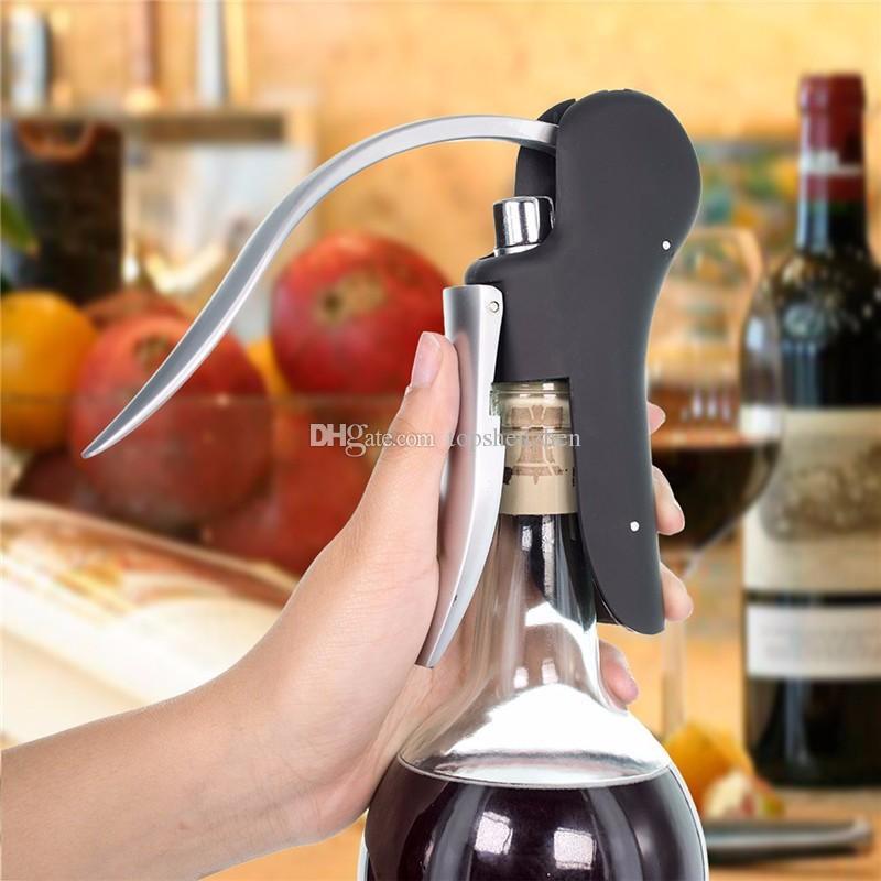 Abridor de garrafa de vinho de saca-rolhas de estilo de alavanca de coelho com saca-rolhas Saca-rolhas de substituição de faca com cortador de folha e saca-rolhas de substituição
