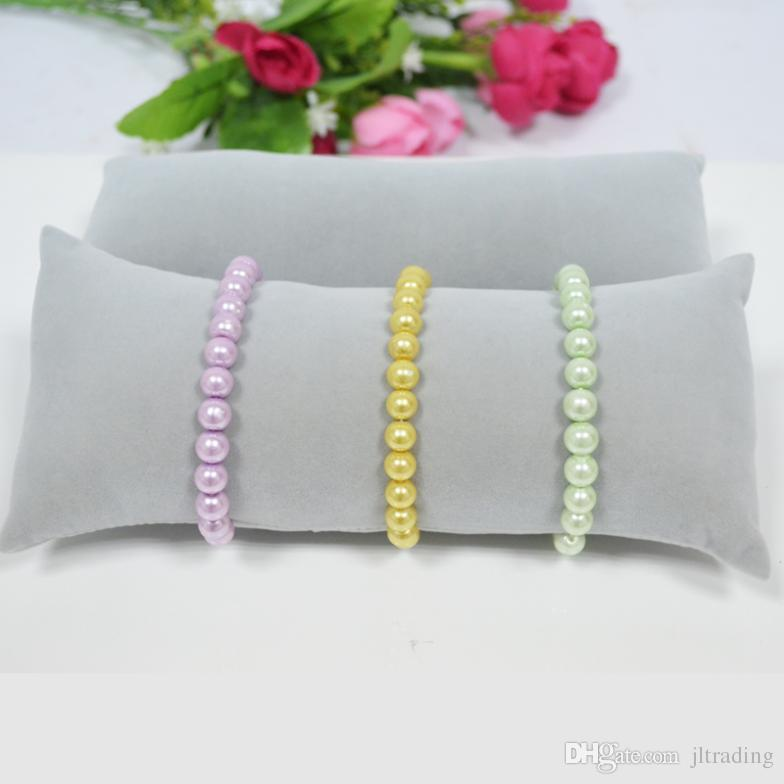 Wholesale Velvet Bracelets Bangle Watch Pillow Holder for Jewelry Display Large Grey Velvet Case Jewellery Stand Boxes