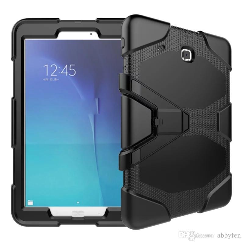 Samsung TABE T560 9.7inch Tablet Askeri Extreme Ağır Hizmet Darbeye HALİNDE İçin Ekran Koruyucu metal çubuğuyla birlikte Kılıf Kapak Standı