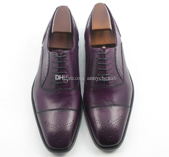 12b34508dc083 Acheter Chaussures Habillées Chaussures Richelieu Chaussures Pour Hommes  Chaussures Faites Main À La Main Véritable Cuir De Veau Couleur Violet  Foncé HD ...